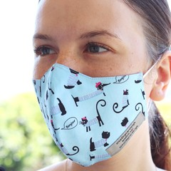 Face mask, 3 layers, adjustable straps, 100%cotton
