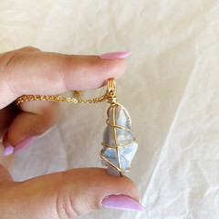 Blue Calcite Pendant - Gold 45cm