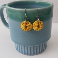 Fabric Drop Earrings - Yellow / Mustard Earrings