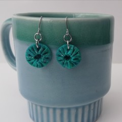 Fabric Drop Earrings - Turquoise / Aqua Earrings