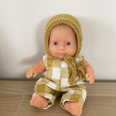 Mustard Dolls Bonnet - Miniland 21cm doll