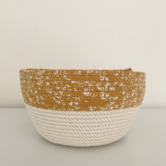 Rope Basket - with Mustard and White Floral Fabric Trim (Round)