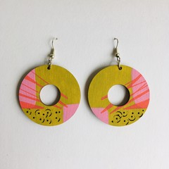 Hand Painted Wooden Chartreuse Pink Earrings