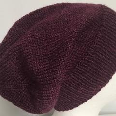 Unisex adult hand knit Slouchy/beanie 50% Aus wool 50% bamboo sew-ezy Aus 3/3