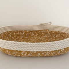 Rope Basket - with Mustard and White Floral Fabric (Oblong)