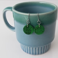 Fabric Drop Earrings - Emerald Green Earrings