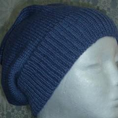 Unisex adult hand knit Slouchy/beanie 50% Aus wool 50% bamboo sew-ezy Aus 2/3
