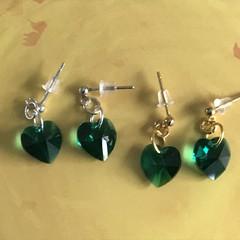 10mm Heart Swarovski® drop stud earrings