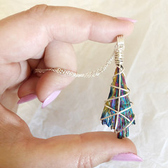 Rainbow Aura Kyanite Pendant - Silver 45cm