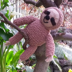 Sloth soft toy. Hand knitted, cuddly softie.