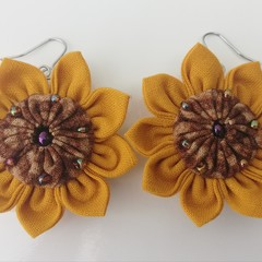 Sunflower Earrings - Fabric Flower Dangle Earrings - Sustainable Fashion