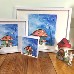 Enchanted Fairy Mushroom house- 2 size prints and gift cards