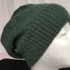 Unisex adult hand knit Slouch/beanie sav 70% Wool 30% Aus Alpaca sew-ezy Aus 1/1
