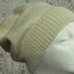 Unisex adult hand knit Slouchy/beanie 50% Aus wool 50% bamboo sew-ezy Aus 1/3