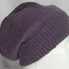 Unisex adult hand knit Slouch/beanie rh 40% Wool 60% Aus Alpaca sew-ezy Aus 1/1