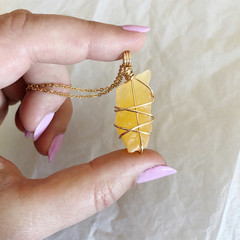 Orange Calcite Pendant - Gold 45cm