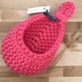 Crochet hanging pod   home decor   storage basket   HOT PINK