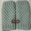 Mint green merino chunky  handwarmers ladies or men's texting gloves