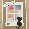 Birthday Card - cat sitting at the window