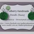 Fabric Drop Earrings - Emerald Green Earrings