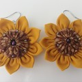 Sunflower Earrings - Fabric Flower Dangle Earrings - Sustainable Fashion