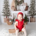 Crimson Red Baby Bonnet - Unisex Toddler Hat - Christmas Outfit