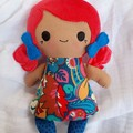 "Handmade rag doll with sleeping bag, 20cm (8""), tiny tot doll"