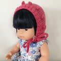 Pink Dolls Bonnet - Miniland/Minikane
