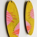 Hand Painted Geometric Chartreuse Pink Yellow Statement Earrings