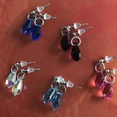 Various Silver 13mm teardrop Swarovski crystal stud earrings - various colours