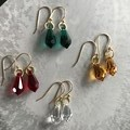 Gold 15mm teardrop Swarovski® drop hook earrings - various colours