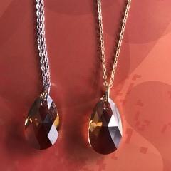 22mm Crystal Copper Swarovski® pear crystal pendant necklace