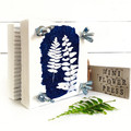 Mini Flower Press, decorated with original fern cyanotype art