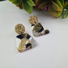 Gold Marble Pebble Dangle earrings - Handcrafted dangle earrings - Sml
