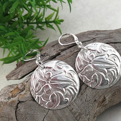 Large Lightweight Sterling Silver Disc Earrings with Leaf Design.