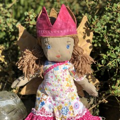 Beautiful Fairy doll with wings and crown.  recycled materials