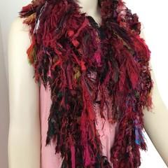 Red black boho silk scarf, wrap, handknit, recycled sari silk