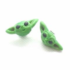 Baby Yoda STUDS Earrings, Handmade Polymer clay