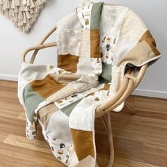 Boho succulent cot blanket