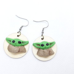 Baby Yoda Inspired dangle Earrings, Handmade  Polymer clay