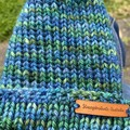 Newborn baby boy or girl blue and green beanie knitted
