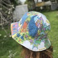 Women's reversible vintage upcycled Sunhat with rainbows!