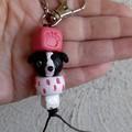 Keyring / bag tag - Border Collie beads