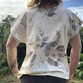 Upcycled Vintage Peacock Fabric Boxy Women's Tshirt/Blouse