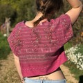 Mother's Day gift - Upcycled Hot Pink Boxy Women's cropped Tshirt/Blouse