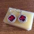 Beaded crystal earrings. Quatrefoil earrings.