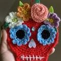 Crochet Sugar Skull Wall Hanging Halloween Decoration