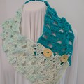 Hand Crocheted Autumn Scarf - Turquoise & Cream Hearts