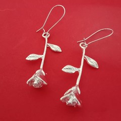 Silver rose charm dangle earrings