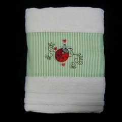 Personalised embroidered towel, ladybird, baby gift
